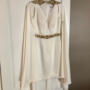 Designer ivory cape dress with jeweled accents